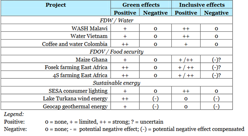 Overview of positive and negative Green and Inclusive effects of the partnerships